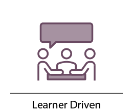 Learner driven, three people at a table with a speech bubble