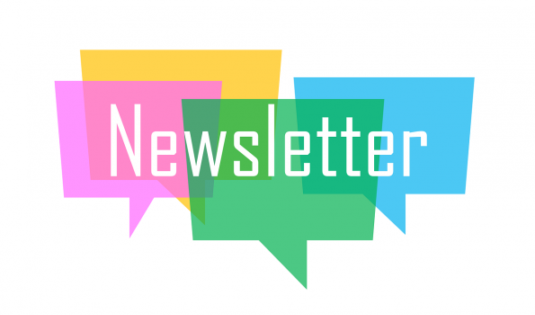Words newsletter with multi-color background
