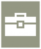 A white icon showing a toolbox on a greenish gray background.